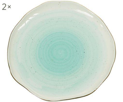 Piatto da colazione fatto a mano Bol, 2 pz., Porcellana, Blu turchese, Ø 19 x Alt. 3 cm