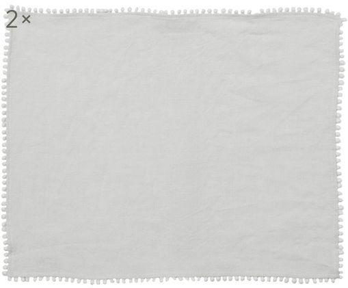 Tovagliette di lino Pom Pom, 2 pz., Lino, Grigio chiaro, Larg. 35 x Lung. 45 cm