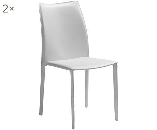 Sedia imbottita in pelle Soléne, 2 pz., Seduta: pelle riciclata, Struttura: metallo ricoperto di cuoi, Bianco, Larg. 48 x Prof. 60 cm