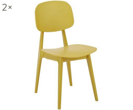 Sedia di design Smilla 2 pz, Seduta: materiale sintetico, Gambe: metallo verniciato a polv, Giallo opaco, Larg. 43 x Prof. 49 cm
