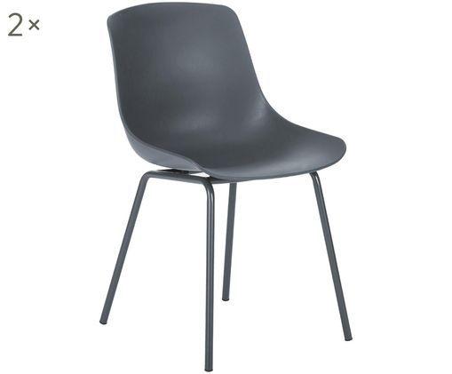 Krzesło z tworzywa sztucznego Joe, 2 szt., Nogi: metal malowany proszkowo, Ciemny szary, S 46 x G 53 cm