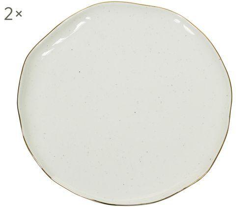 Assiettes plates faites à la main Bol, 2pièces, Blanc crème