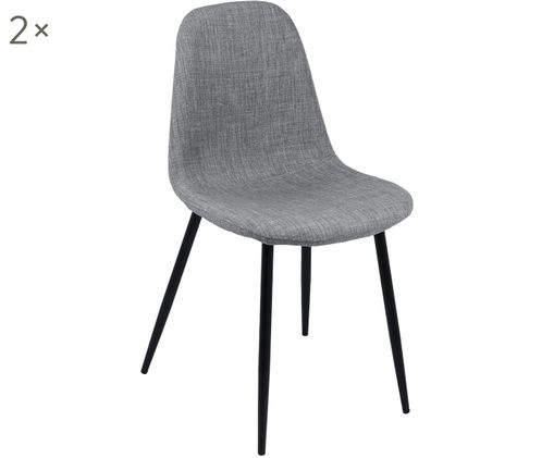 Chaises rembourrées Karla, 2pièces, Revêtement: gris clair Pieds: noir