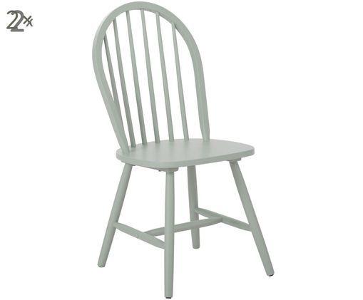 Sedia in legno Jonas in design Windsor, 2 pz., Verde salvia