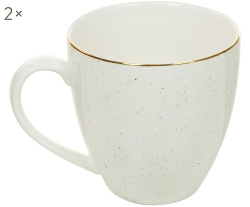 Handgefertigte Kaffeetassen Bol mit Goldrand, 2 Stück, Porzellan, Cremeweiß, Ø 9 x H 9 cm