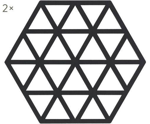 Silikon Topfuntersetzer Triangle, 2 Stück, Silikon, Schwarz, B 14 x T 16 cm