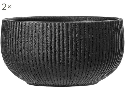 Ciotole Neri, 2 pz., Terracotta, Nero, Ø 15 x Alt. 8 cm