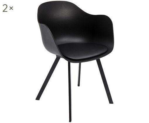 Armlehnstühle Brentwood, 2 Stück, Bezug: Kunstleder (Polyurethan), Sitzfläche: Polypropylen, Beine: Metall, pulverbeschichtet, Schwarz, B 58 x T 53 cm