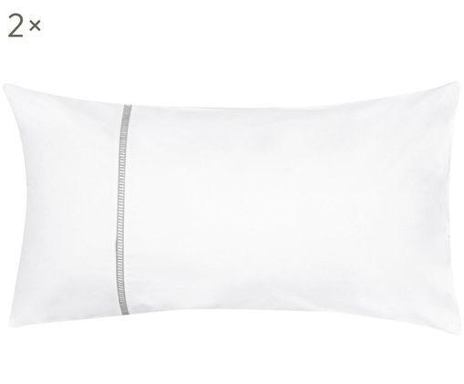 Perkal-Kissenbezüge Mari mit Hohlsaumstickerei, 2 Stück, Webart: Perkal, Weiß, Grau, 40 x 80 cm