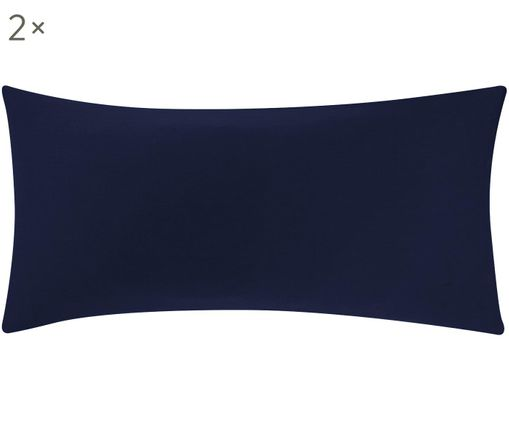 Baumwollsatin-Kissenbezüge Comfort in Dunkelblau, 2 Stück, Webart: Satin, leicht glänzend, Dunkelblau, 40 x 80 cm
