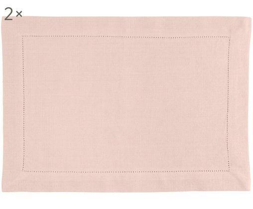 Set tovagliette fatto a mano Indi, 2 pz., Cotone, Rosa, Larg. 35 x Lung. 50 cm