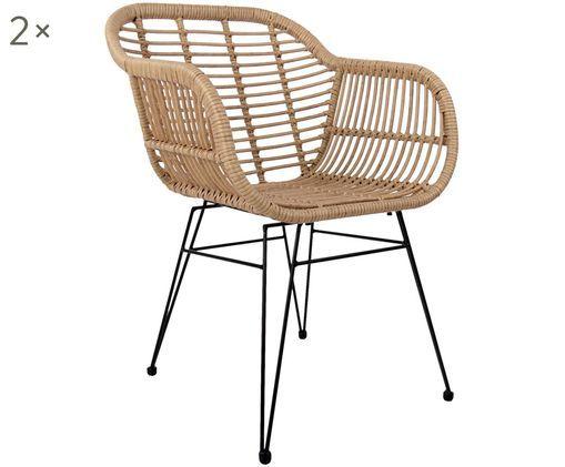 Polyrattan-Armlehnstühle Costa, 2 Stück, Sitzfläche: Polyethylen-Geflecht, Gestell: Metall, pulverbeschichtet, Sitzschale: Naturfarben, Gestell: Schwarz, B 59 x T 61 cm