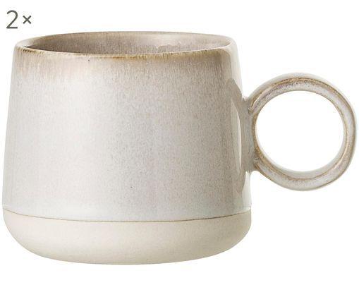 Tazze da tè fatte a mano Carrie, 2 pz., Terracotta, Bianco latteo, marrone, Ø 10 x Alt. 9 cm