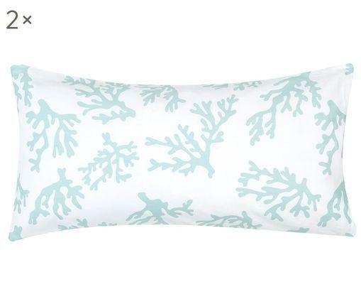 Baumwollsatin-Kissenbezüge Cora mit Korallen, 2 Stück, Webart: Satin, leicht glänzend, Türkis, 40 x 80 cm