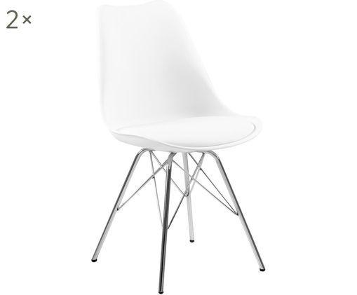 Krzesło z tworzywa sztucznego Eris, 2 szt., Nogi: metal chromowany, Biały, chrom, S 54 x G 49 cm