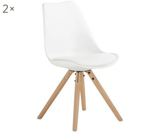 Stühle Max mit Kunstleder-Sitzfläche, 2 Stück, Sitzfläche: Kunstleder (Polyurethan) , Sitzschale: Kunststoff, Beine: Buchenholz Das FSC zertif, Sitzschale: WeißBeine: Buchenholz, B 46 x T 54 cm