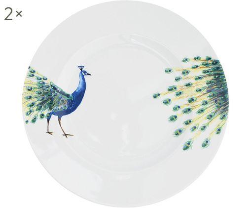 Speiseteller Peacock mit Pfaumotiv, 2 Stück, Porzellan, Weiß, Blau, Gelb, Grün, Ø 27 cm