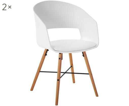 Armlehnstühle Luna im Skandi Design, 2 Stück, Beine: Buchenholz, lackiert, Sitzfläche: Weiß Beine: Buchenholz, glänzend, 52 x 81 cm