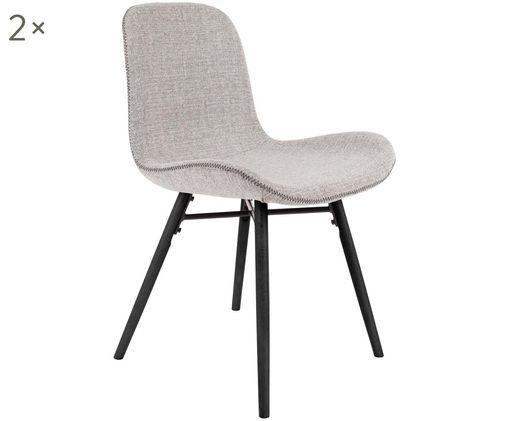 Gestoffeerde stoelen Lester, 2 stuks, Bekleding: 100% polyester, Poten: gelakt beukenhout, Bekleding: lichtgrijs. Poten: zwart, 50 x 81 cm