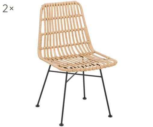 Polyrattan-Stühle Costa, 2 Stück, Sitzfläche: Polyethylen-Geflecht, Gestell: Metall, pulverbeschichtet, Sitzfläche: Hellbraun, geflecktGestell: Schwarz, matt, B 47 x T 62 cm
