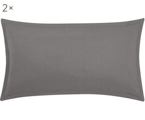 Poszewka na poduszkę z lnu Breeze, 2 szt., 52% len, 48% bawełna Produkt posiada efekt sprania i jest miękki w dotyku, Ciemny szary, S 40 x D 80 cm
