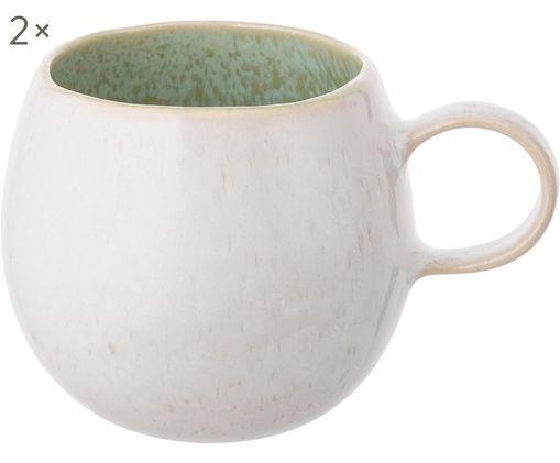 Tasses à thé peintes à la main Areia, 2 pièces, Menthe, blanc cassé, beige