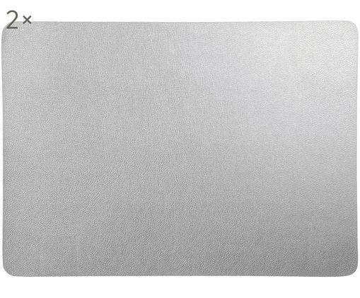 Set tovagliette in materiale sintetico Pik 2 pz, Materiale sintetico (PVC), Argentato, Larg. 33 x Lung. 46 cm