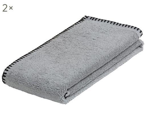 Asciugamani Deluxe Prime 2 pz, Cotone, qualità media, 550g/m², Grigio, Larg. 50 x Lung. 100 cm
