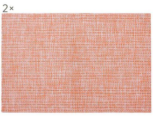 Set tovagliette Lohan, 2 pz., PVC, PET, Pesca, Larg. 30 x Lung. 45 cm