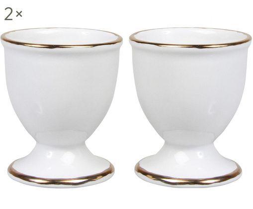 Portauovo Decadent, 2 pz., Porcellana, Bianco, Ø 5 x A 6 cm