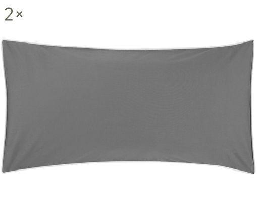 Perkal-Kissenbezüge Daria mit Keder, 2 Stück, Webart: Perkal, Dunkelgrau Kederumrandung: Weiß, 40 x 80 cm