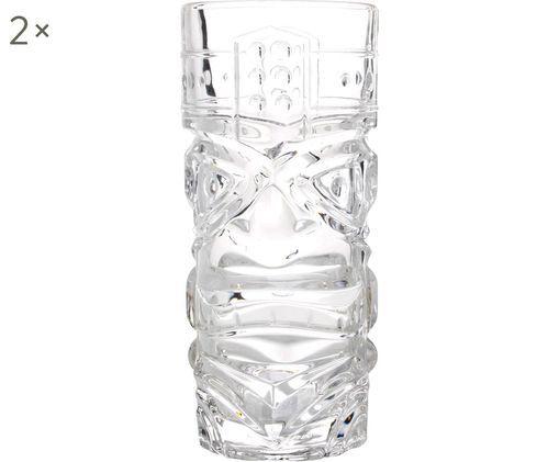 Cocktailgläser Tiki mit Relief, 2er-Set, Glas, Transparent, Ø 7 x H 17 cm