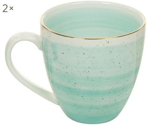 Handgefertigte Kaffeetassen Bol mit Goldrand, 2 Stück, Türkisblau