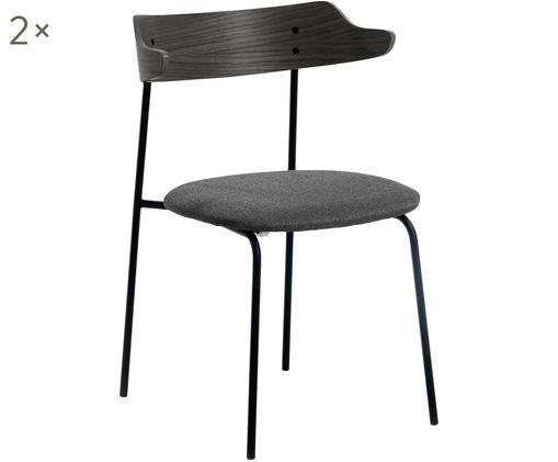 Krzesło tapicerowane Olympia, 2 szt., Antracytowy, ciemny szary