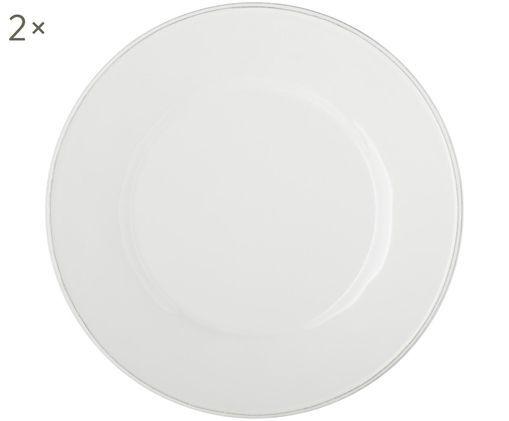 Speiseteller Constance in Weiß, 2 Stück, Keramik, Weiß, Ø 29 cm