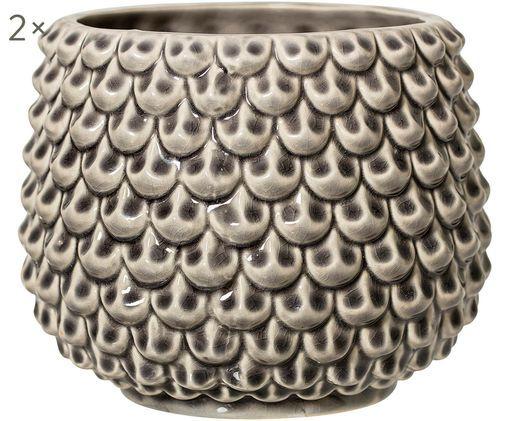 Doniczka Scales, 2 szt., Ceramika, Jasny szary, Ø 17 x W 13 cm