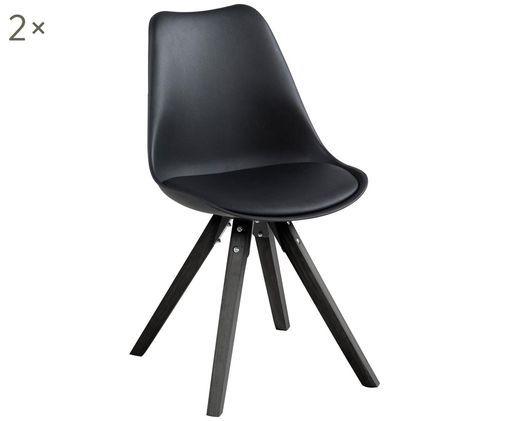 Esszimmerstühle Elin, 2 Stück, Sitzschale: Kunststoff, Bezug: Kunstleder (100% Polyuret, Beine: Gummibaumholz, lackiert, Schwarz, 49 x 85 cm