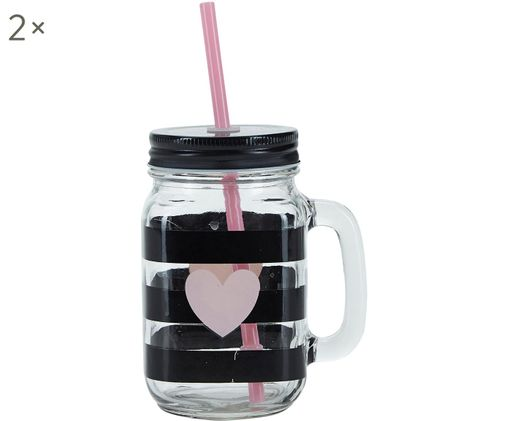 Bicchieri Stripes & Heart, 2 pz., Contenitore: vetro, Coperchio: metallo, plastica, Trasparente, nero, rosa, Ø 7 x A 16 cm