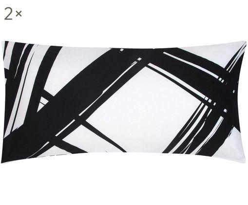 Renforcé-Kissenbezüge Brush mit abstraktem Print, 2 Stück, Webart: Renforcé, Schwarz, Weiß, 40 x 80 cm