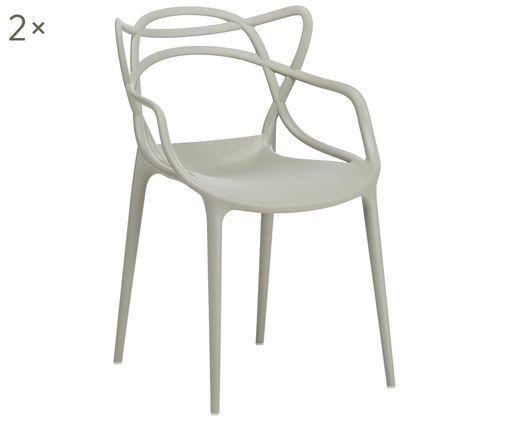Krzesło z podłokietnikami Masters, 2 szt., Polipropylen, Szary, S 57 x W 84 cm