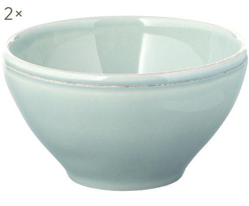 Ciotole Constance in menta, 2 pz., Ceramica, Verde menta, Ø 15 x Alt. 9 cm