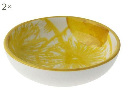 Dipschalen Lemon, 2 Stück, Porzellan, Weiß, Gelb, Ø 9 x H 3 cm