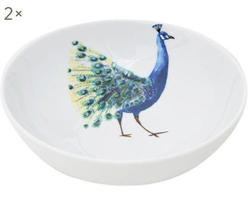 Cuencos Peacock, 2uds., Porcelana, Blanco, azul, amarillo, verde, Ø 18 cm
