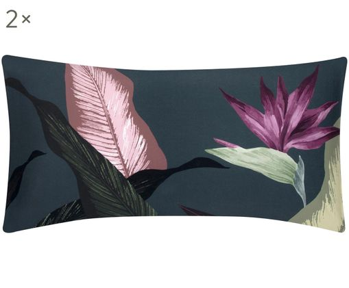 Baumwollsatin-Kissenbezüge Flora, 2 Stück, Webart: Satin, Vorderseite: Mehrfarbig Rückseite: Dunkelgrau, 40 x 80 cm