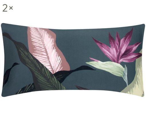 Baumwollsatin-Kissenbezüge Flora, 2 Stück, Webart: Satin, Vorderseite: MehrfarbigRückseite: Dunkelgrau, 40 x 80 cm