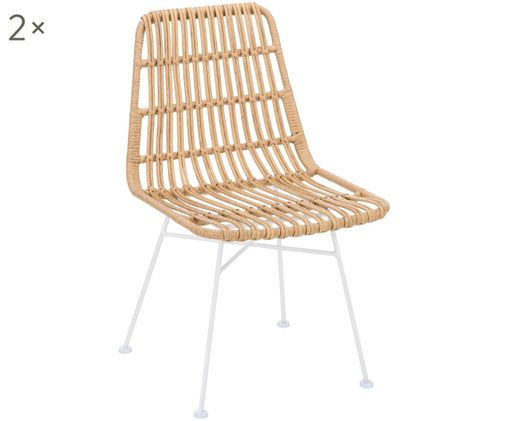 Polyrattan-Stühle Costa, 2 Stück, Sitzfläche: Polyethylen-Geflecht, Gestell: Metall, pulverbeschichtet, Sitzfläche: Hellbraun, gefleckt Gestell: Weiss, matt, B 47 x T 62 cm