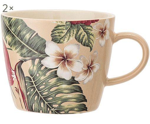 Tasses à café Aruba, 2pièces, Blanc crème, vert, rouge
