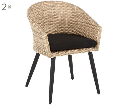 Garten-Armlehnstuhl Yara, 2 Stück, Sitzfläche: Polyethylen-Geflecht, Beine: Metall, pulverbeschichtet, Hellbraun, Schwarz, B 56 x T 64 cm