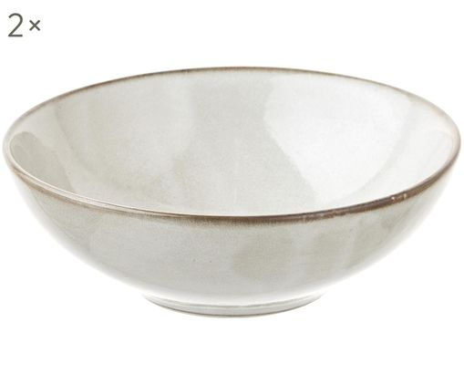 Assiettes creuses faites à la main Thalia, 2 pièces, Crème avec bordure foncée