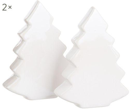 Deko-Objekte Collin, 2 Stück, Steingut, Cremefarben, 10 x 13 cm